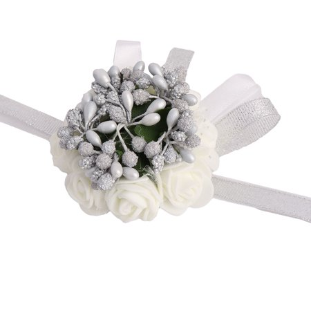 Party Prom Foam Girl Dancer Hand Decoration Emulational Wrist Flower Silver Tone - Decorations For Prom