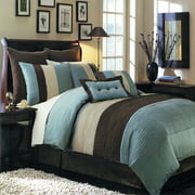 Hudson Bed in a Bag Set 8 Piece Includes Comforter Skirt Shams and Pillows - All sizes