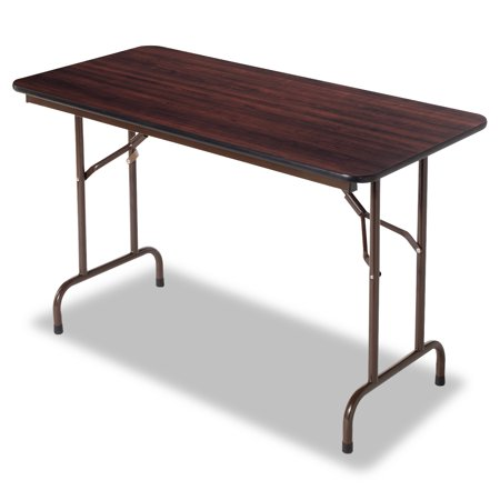 Rectangular Walnut Folding Table - Alera Wood Folding Table, Rectangular, 48w x 24d x 29h, Walnut