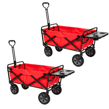 Mac Sports Collapsible Folding Outdoor Utility Wagon Cart w/ Table, Red (2 (Mac Sports Collapsible Folding Outdoor Utility Wagon)