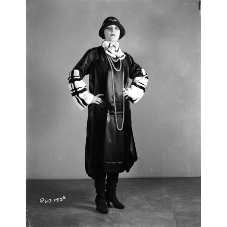 Pola Negri Posed with Hands on Hips in Black Gothic Outfit Photo Print - Gothic Outfit