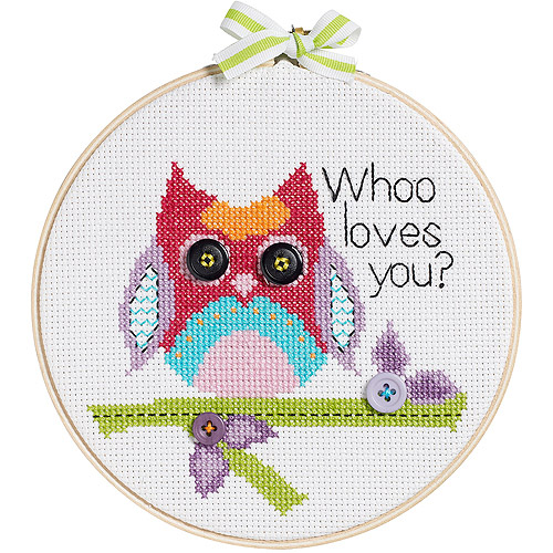 "My 1st Stitch Whoo Loves You Mini Counted Cross Stitch Kit, 6"" Round, 14-Count"