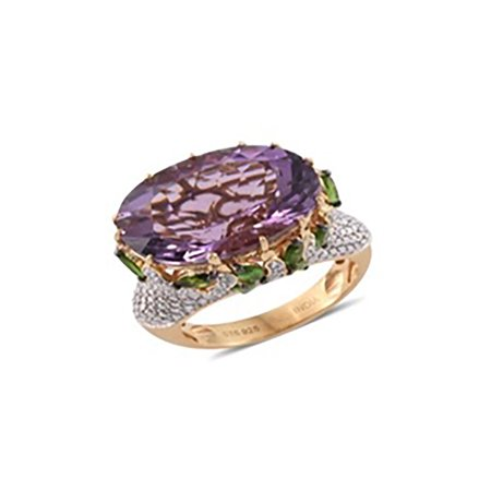 Silver Yellow Gold Plated Oval Amethyst Multi Gemstone Cocktail Ring Size 8 Cttw 18.5 Oval Gemstone Cocktail Ring
