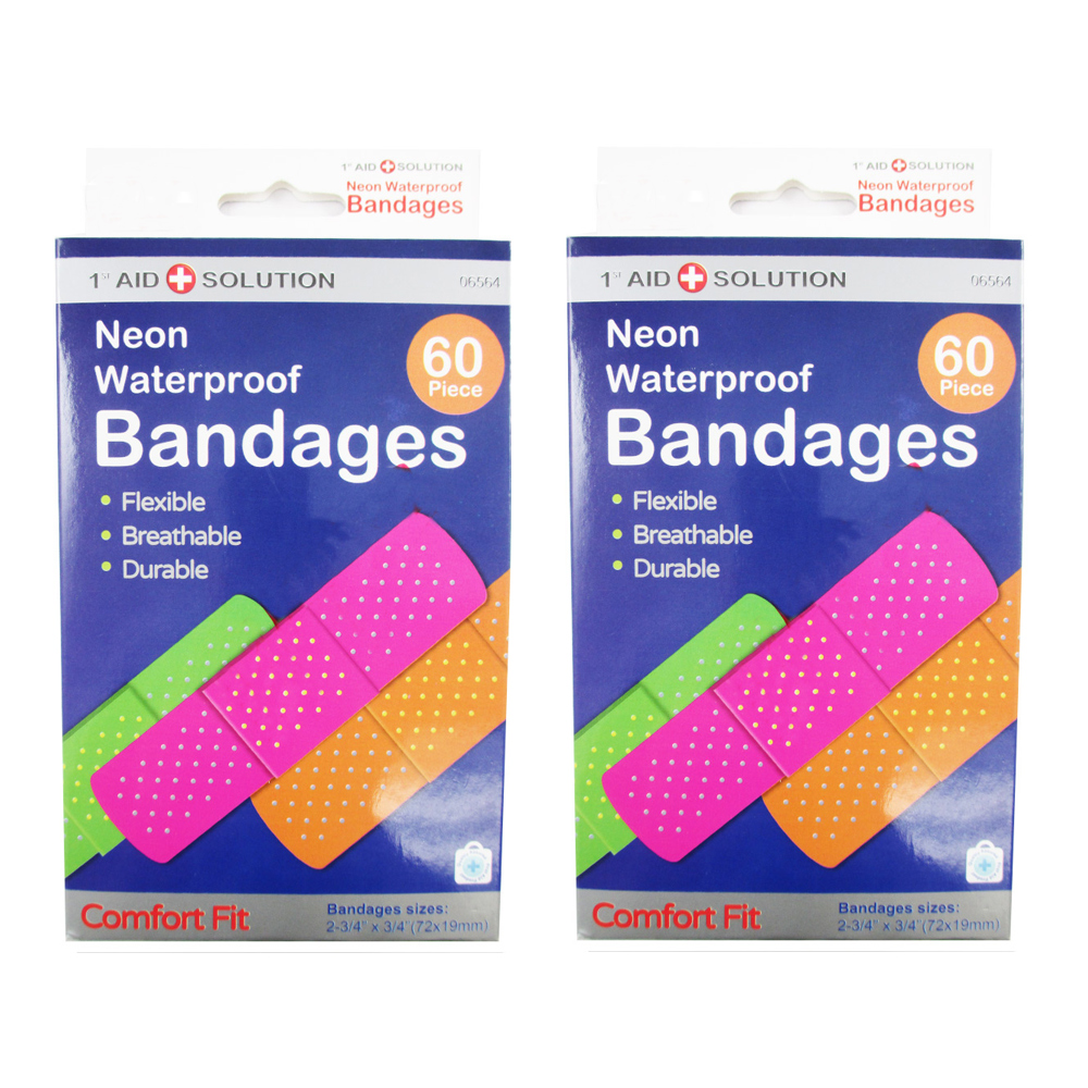 "120 Neon Adhesive Bandaid Waterproof Bandages Strip 3 4"" Kids Children First Aid by QNP RRG"