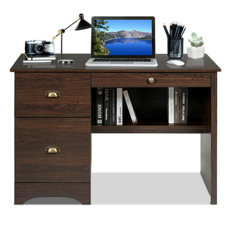 Costway Computer Desk PC Laptop Writing Table Workstation Study Furniture With Drawers ()
