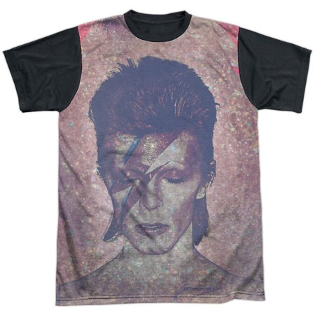 David Bowie Glam White Front/Black Back Adult T-Shirt X-Large