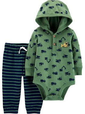 Child of Mine by Carter's Hooded Long Sleeve Bodysuit and Pant Outfit Set, 2 pc set (Baby Boys)