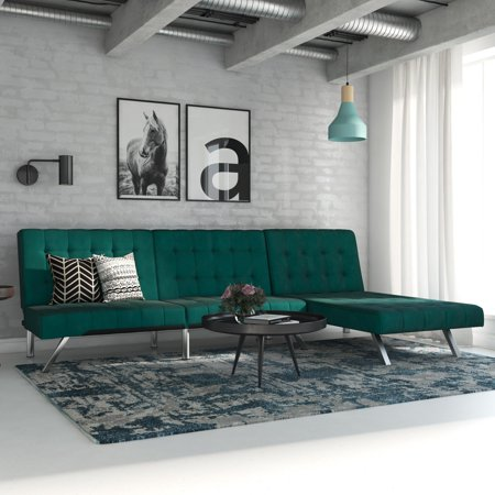 Brilliant Dhp Emily Sectional Futon Sofa Bed With Convertible Chaise Lounger Modern Design With Sturdy Chrome Legs Green Velvet Pabps2019 Chair Design Images Pabps2019Com