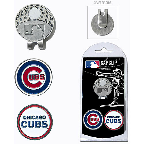 ball markers. team golf mlb chicago cubs cap clip with 2 ball markers