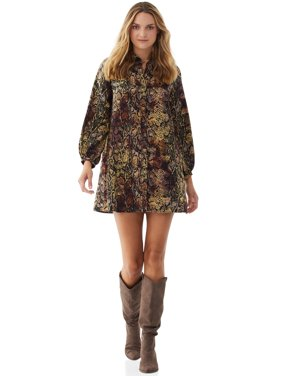 Scoop Womens Printed Shirtdress, Multi Ombr Snake