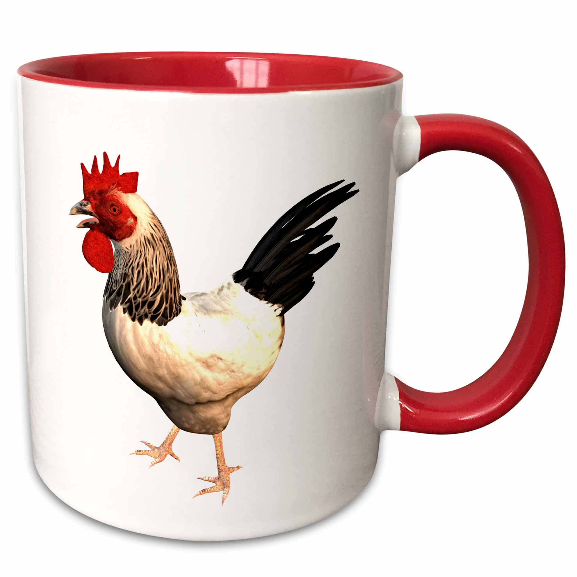 3dRose Sussex Rooster - Two Tone Red Mug, 11-ounce