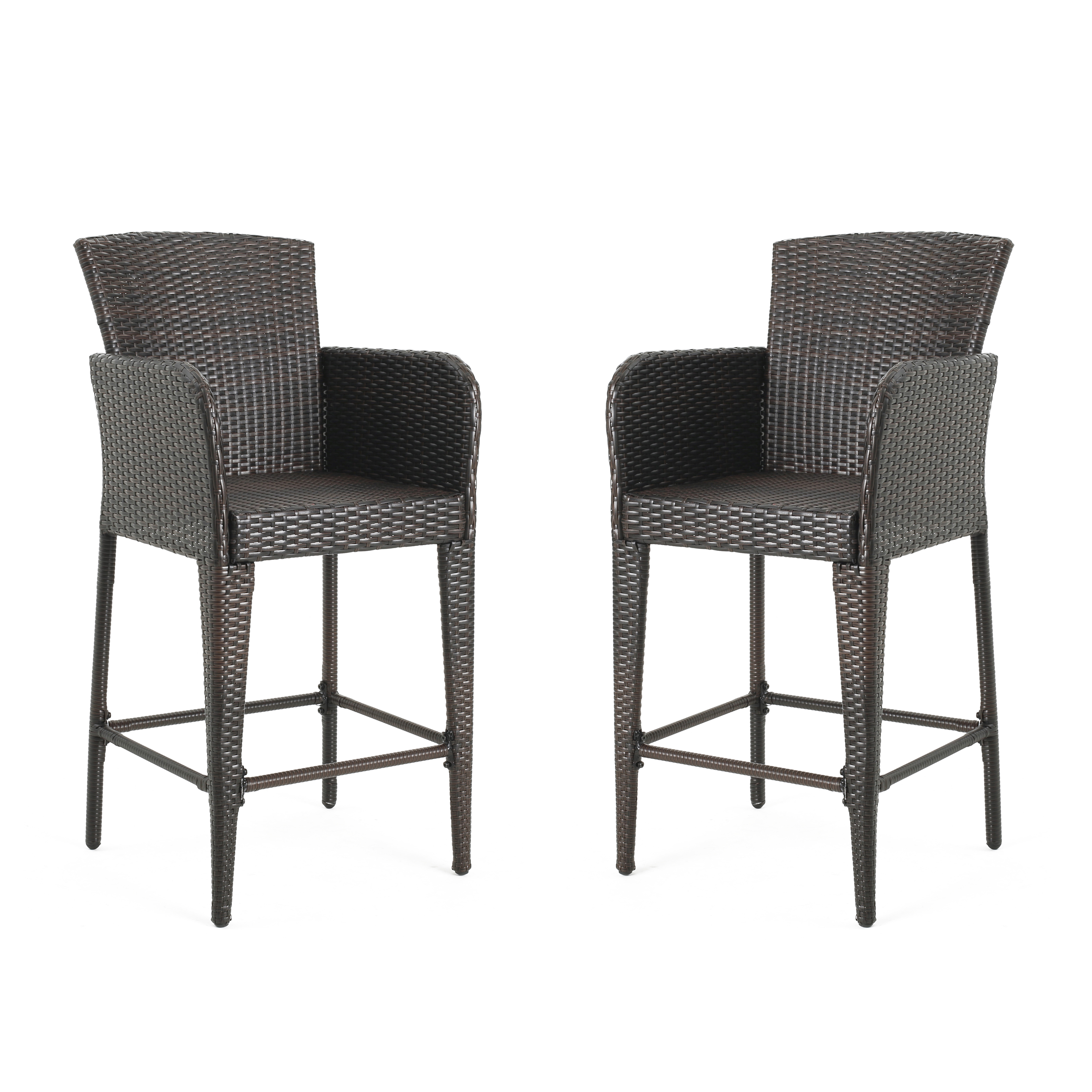 Bari Outdoor Multibrown Wicker Bar Stools, Set of 2