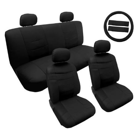Premium Synthetic Pu Faux Leather Seat Cover Set Solid Black 14Pc Set For Honda Civic
