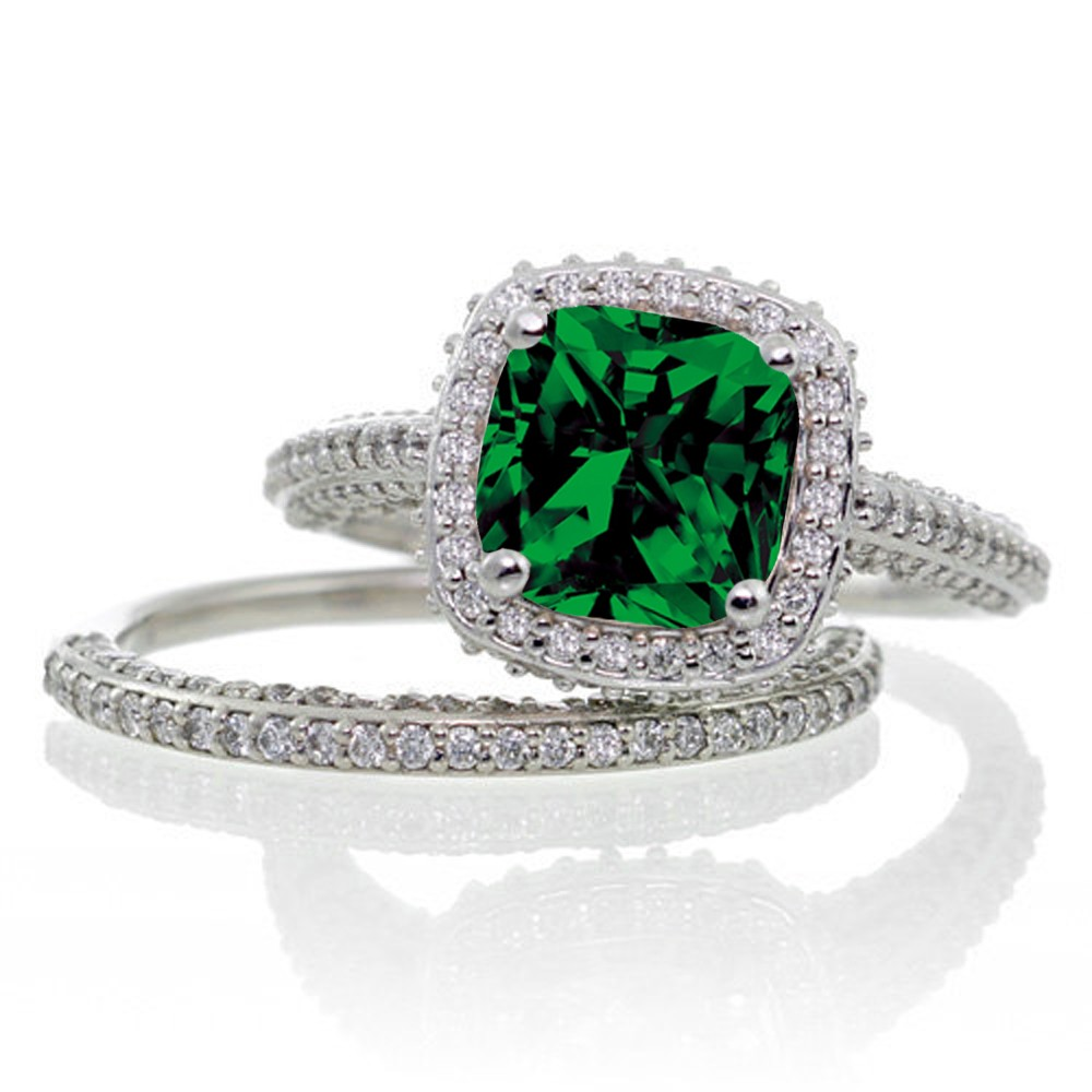 Jeenjewels 2 5 Carat Cushion Cut Designer Emerald And Diamond Halo Wedding Ring Set On 10k White Gold