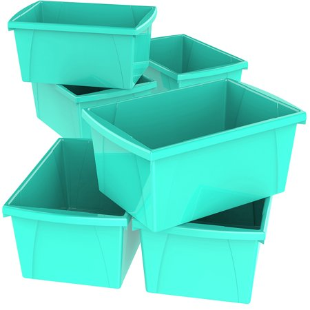 4 Gallon/15 L Classroom Storage Bin,Teal (6 units/pack)](Classroom Book Bins)