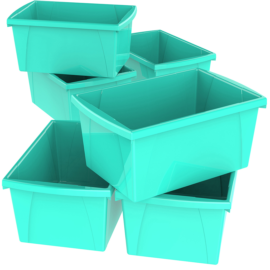 4 Gallon/15 L Classroom Storage Bin,Teal (6 units/pack)