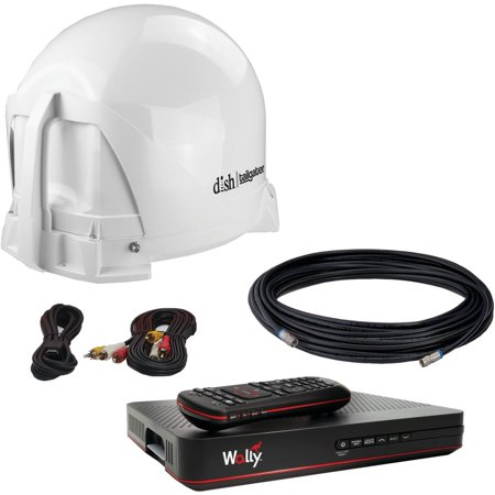 KING VQ4450 DISH Tailgater Bundle - Portable Satellite TV Antenna with DISH Wally HD Receiver for RVs, Trucks, Tailgating, Camping and Outdoor ()
