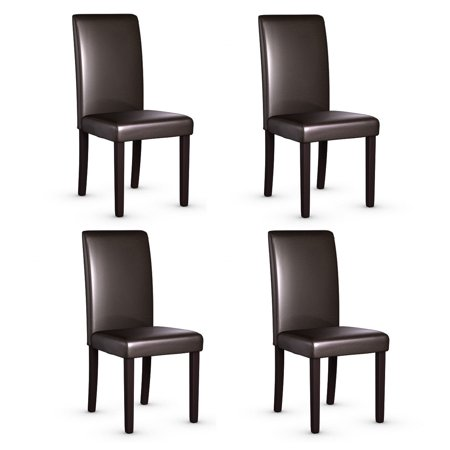 Leather Side Chair Set - Set of 4 Urban Style PU Leather Dining Side Chairs Solid Wood Legs Dining Room