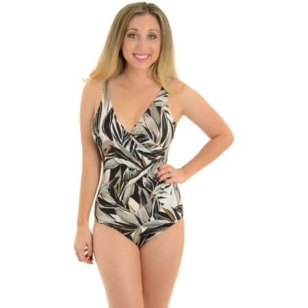 Womens Miraclesuit Oceanus One-Piece Swimsuit Slimming Bathing Suit Gray Print