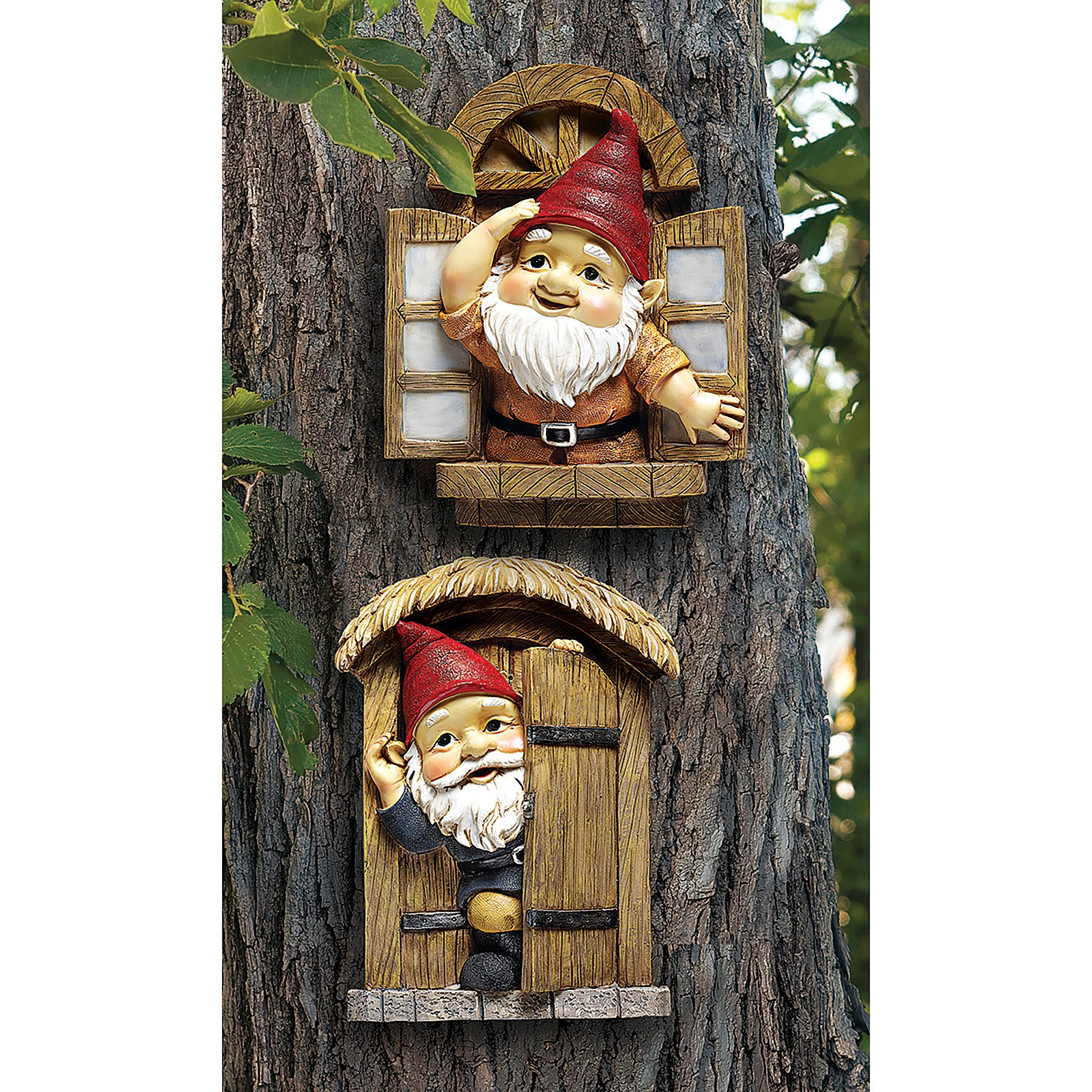 Design Toscano The Knothole Gnomes Garden Welcome Tree Sculpture Set