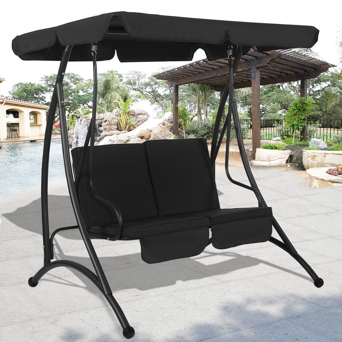 Costway Black 2 Person Canopy Swing Chair Patio Hammock Seat Cushioned Furniture Steel & Costway Black 2 Person Canopy Swing Chair Patio Hammock Seat ...