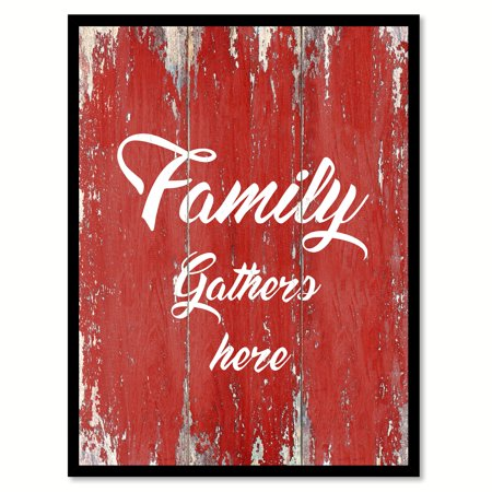 Family Gathers Here Happy Love Quote Saying Red Canvas Print Picture Frame Home Decor Wall Art Gift Ideas 28