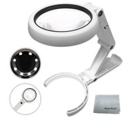 Magnifying Glass with 8 LED Lights, Handsfree Magnifier, [5X 11X] Dual Magnification Lens, Gentle & Bright Light Settings- Ideal for Reading Books, Jewlery, Coins, Craft & Hobbies