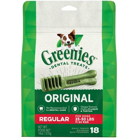 GREENIES Original Regular Size Natural Dental Dog Treats, 18 oz. Pack 12 Ct Dental Treats