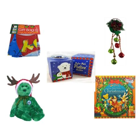 "Christmas Fun Gift Bundle [5 Piece] - Super Giant Gift Bag With Tag - Festive Holly Berry & Pinecone Door Knob Jingler - Polar Pals Votive Holder - Ty Beanie Babies Reindeer Bear  6"" - The Toy"