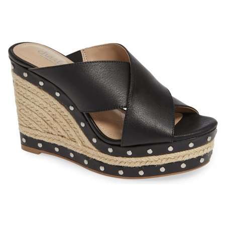 Charles by Charles David Leilani Black Espadrille Platform Wedge Heel Sandals