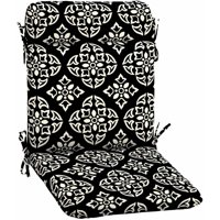 "Better Homes & Gardens Black and White Medallion Outdoor Patio Wrought Iron Chair Pad, 21""W x 39.5""D x 2.25""H"