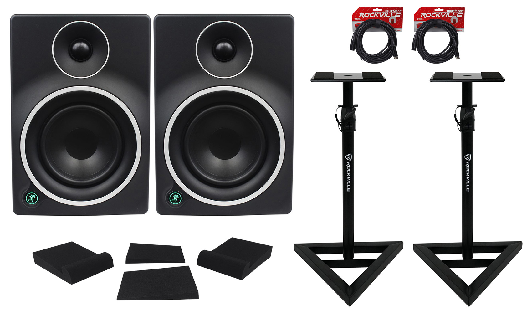 """(2) Mackie MR5mk3 5"""" Powered Studio Monitors+Stands+Foam Pads+Cables by Mackie"""