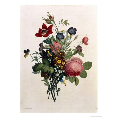 Bouquet of Rose and Lily of the Valley Print Wall Art By Jean Louis (Lily Of The Valley Bouquet Kate Middleton)