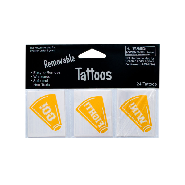 Removable Yellow Cheer Tattoos (Pack Of 24)