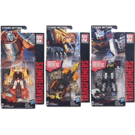 - Rewind - Stripes - Wheelie | Titans Return Autobot Transformers Generations | Legends Class Action Figure Collector Set of 3 | Beast Vehicle Tank 1980s Cartoon Retro Robot Playset Hasbro Collectible