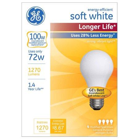 G E LIGHTING Soft White Halogen Bulb, Long Life, Medium Base, 72-Watt, 4-Pk.
