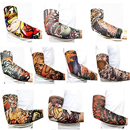 BodyJ4You Tattoo Sleeves Fake Temporary Body Art Arm Halloween Slip On Costume Party Accesories