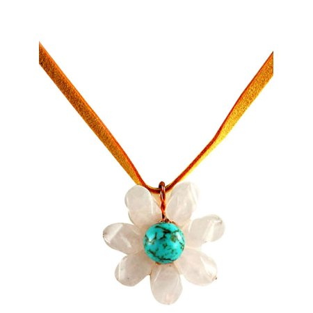 Stone Flower Choker Necklace Rose Quartz and Turquoise