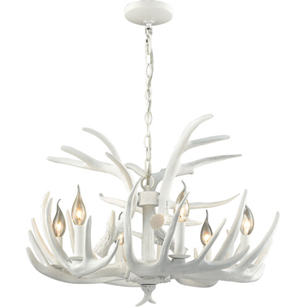 Chandeliers 6 Light With White Finish Composite Material E12 Bulb Type 17 inch 360 Watts