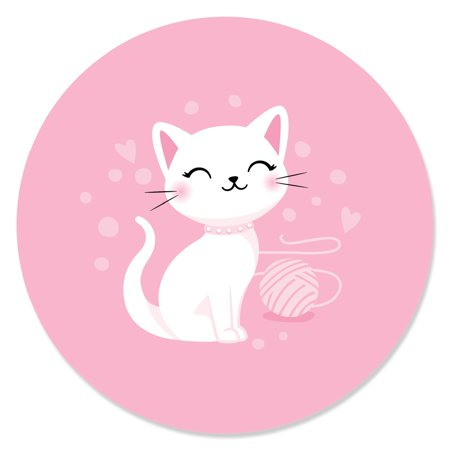 Purr-FECT Kitty Cat - Kitten Meow Baby Shower or Birthday Party Circle Sticker Labels - 24 Count](Kitty Cat Party Supplies)