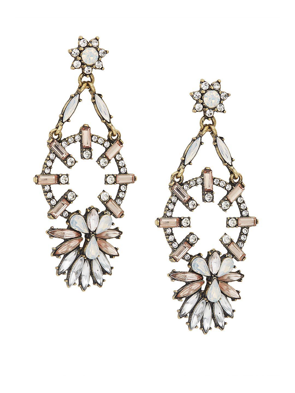 Rhinestone Goldtone Pinwheel Chandelier Earrings