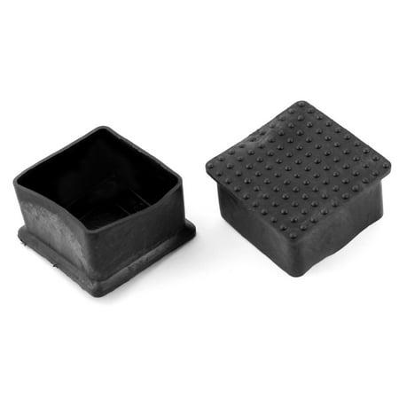 50mmx50mm Square Furniture Leg Protection Black Rubber Feet Ferrules 2Pcs - image 1 of 1