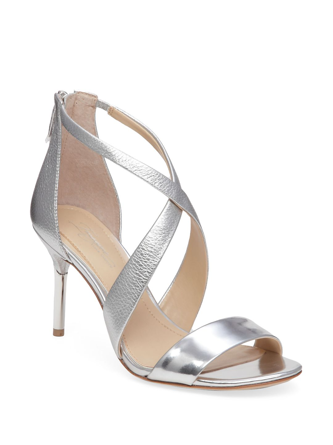Pascal2 Cross-Strap Tumbled Metallic Leather Sandals