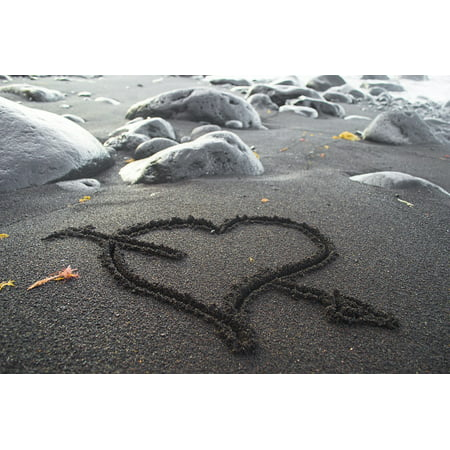 Laminated Poster Romance Heart in The Sand Sand Heart Love Costa Poster Print 11 x 17 - Heart In The Sand