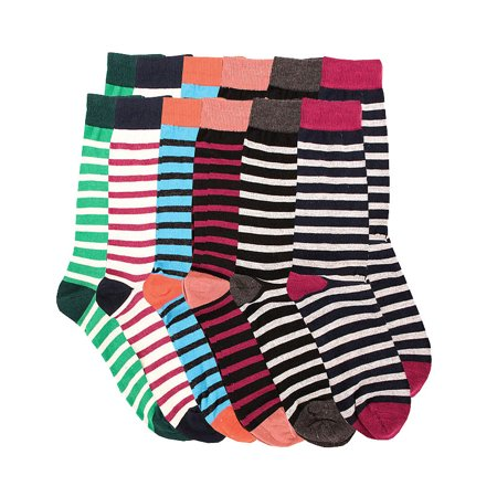 Pack of 12 Men's Premium Cotton Fashion Casual Mid Calf Patterned Dress Socks (Striped Pack, 10-13) ()
