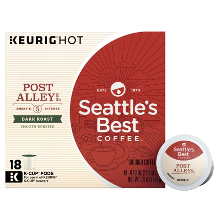 Seattle's Best Coffee Post Alley Blend (Previously Signature Blend No. 5) Dark Roast Single Cup Coffee for Keurig Brewers, Box of 18 (18 Total K-Cup