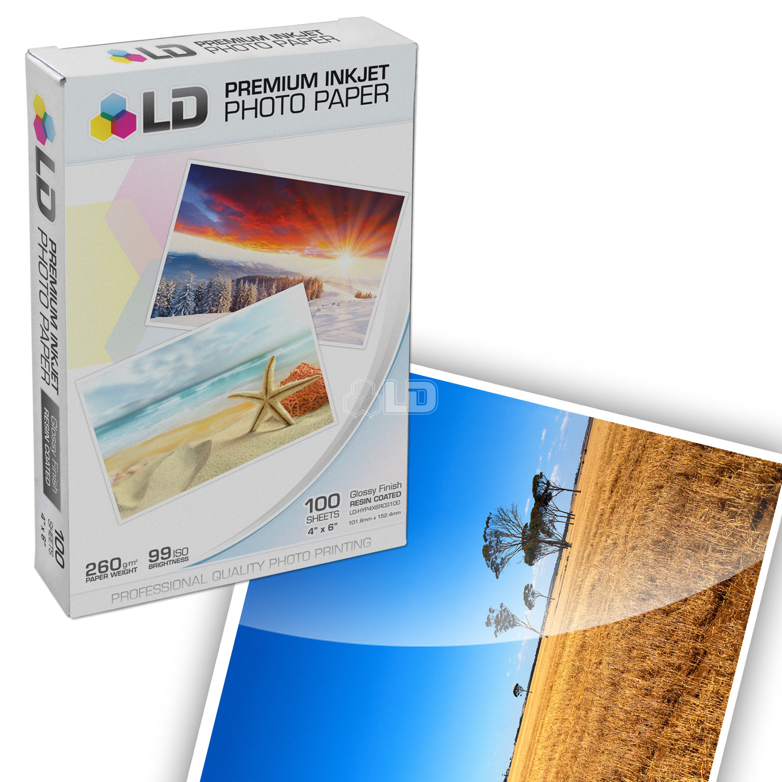 LD Premium Glossy Inkjet Photo Paper (4X6) 100 pack - Resin Coated