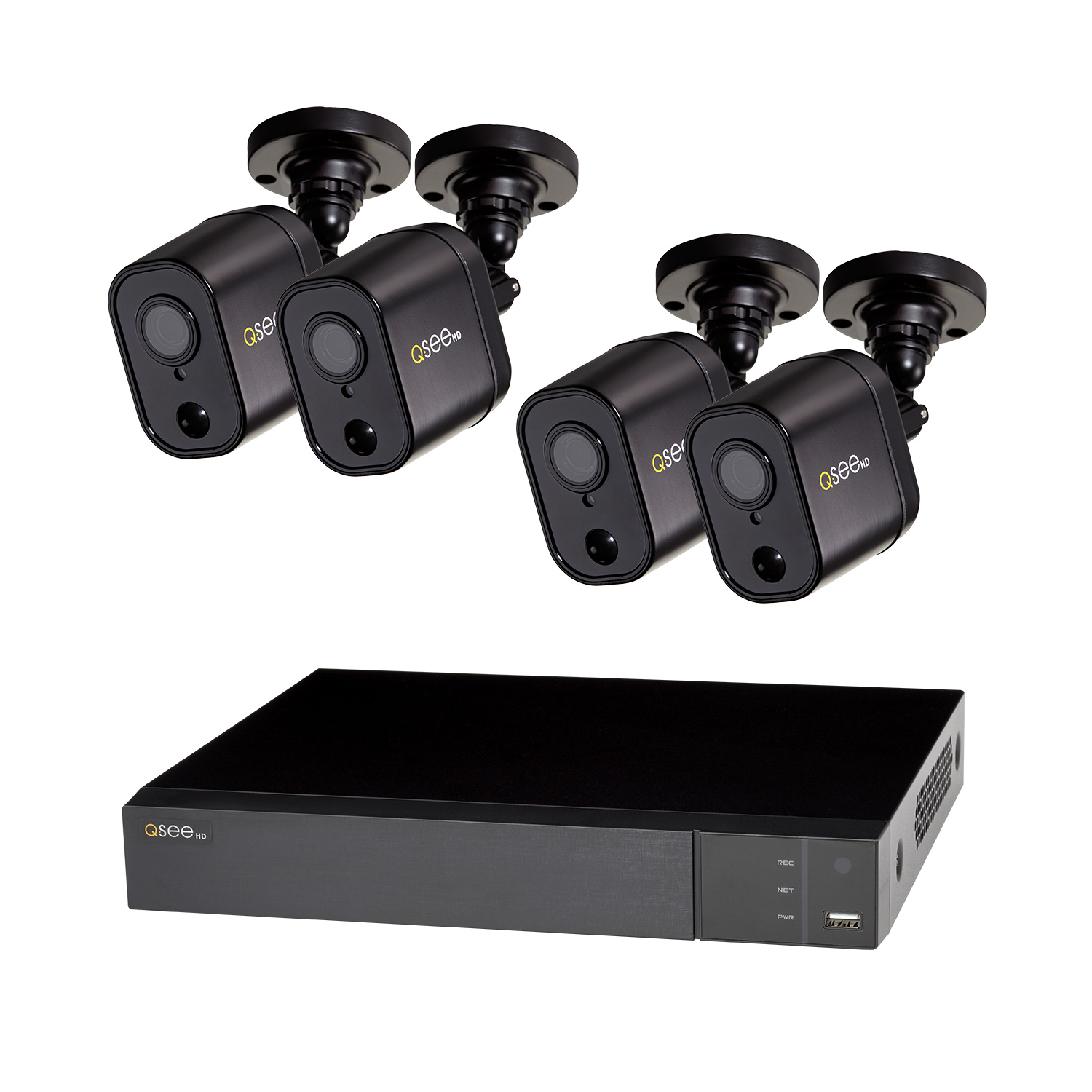 Q-See 4 Channel HD DVR Security System with 4 -1080p PIR Bullet Cameras, 1TB HDD