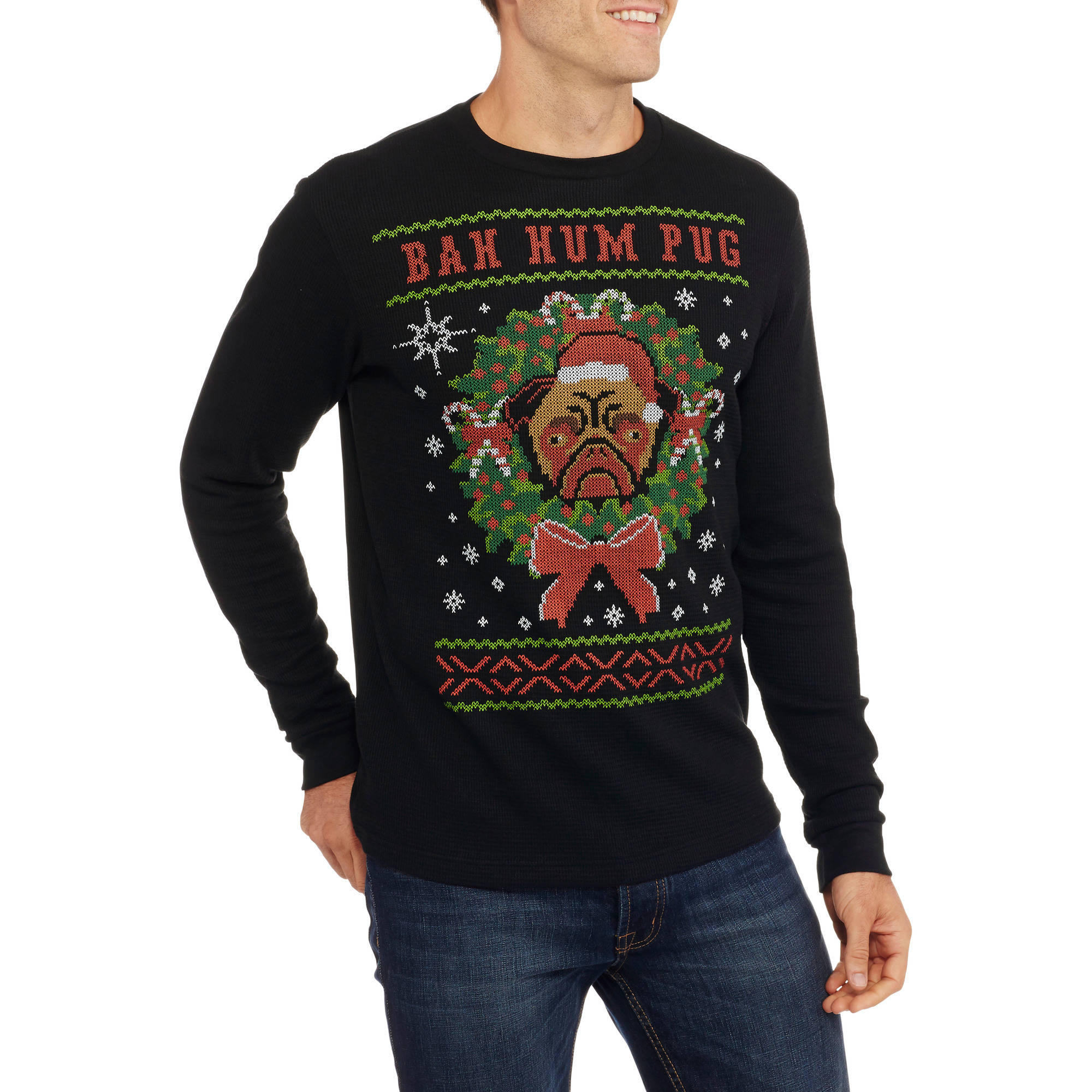 Bah Hum Pug Big Men's Graphic Christmas Thermal, 2XL
