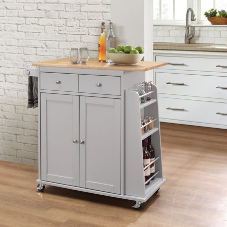 Acme Tanner Kitchen Cart Natural Gray
